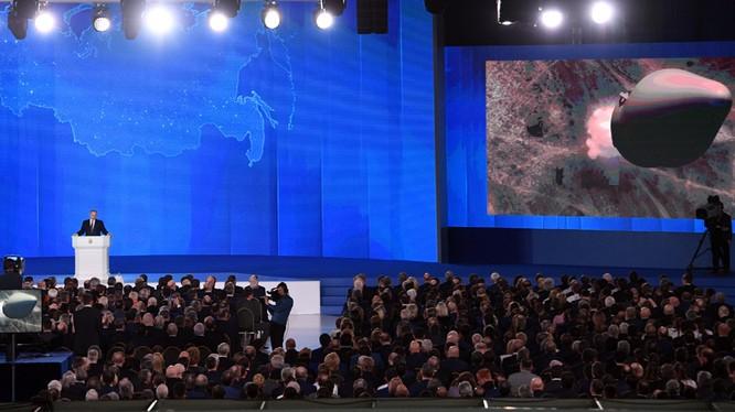 Tổng thống Nga Vladimir Putin đã có bài diễn văn thường niên trước Quốc hội Liên Bang ngày 1/3. Nguồn: RT