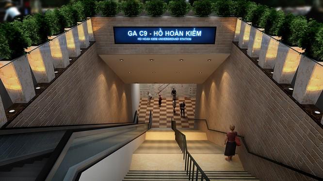 Phối cảnh cửa số 3 trong 4 cửa lên xuống của ga ngầm C9. Nguồn: MBR