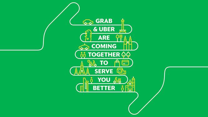 """Quảng cáo của Grab sau vụ thâu tóm Uber tại Đông Nam Á với nội dung: """"Grab và Uber sẽ sát nhập để phục vụ bạn tốt hơn"""". Nguồn: Grab"""
