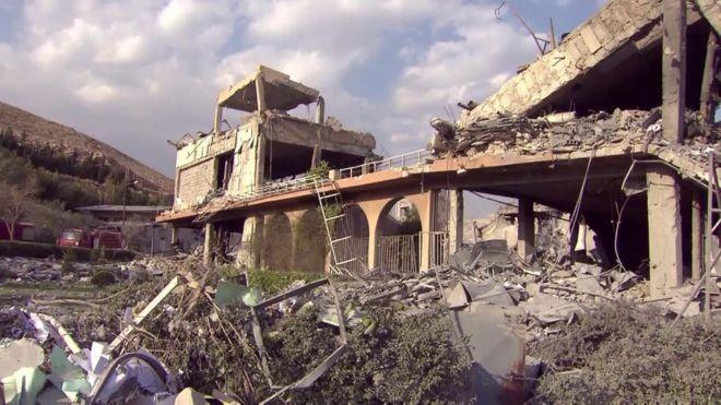 Trung tâm Nghiên cứu và Phát triển Barzah tan hoang sau cuộc tấn công. Nguồn: BBC