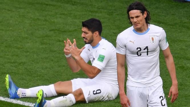 Nếu tận dụng cơ hội tốt hơn, Uruguay đã không phải đợi tới cuối hiệp 2 mới có bàn thắng. Ảnh: Independent