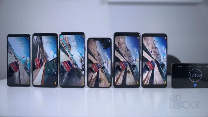 OnePlus 6, LG G7, Galaxy S9 Plus, iPhone X, Google Pixel 2 XL và Huawei P20 Pro. Ảnh: TheUnlockr