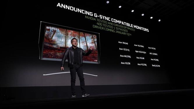 CEO NVIDIA Jensen Huang phát biểu tại Triển lãm Điện tử Tiêu dùng CES 2019. Ảnh: Vox.