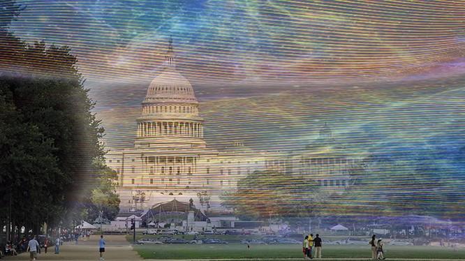 Sóng wifi được hình tượng hóa tại khu vực National Mall ở Washington D.C, Mỹ. Ảnh: Gigaom