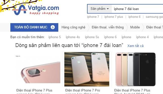 iPhone 7 hàng nhái rao bán trên vatgia.com. Ảnh chụp màn hình.