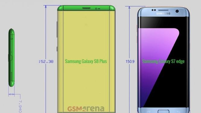 So sánh kích thước Galaxy S8 Plus và S7 Edge