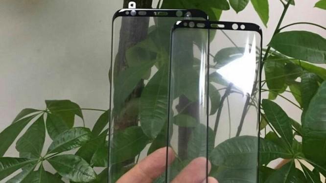 Hình ảnh rò rỉ được cho là tấm kính bảo vệ màn hình của Galaxy S8