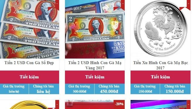 Một địa chỉ bán tiền lưu niệm hình gà trên mạng.