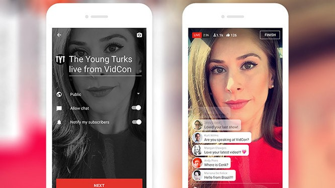 Trước mắt chỉ những nhân vật YouTube nổi tiếng mới có thể livestream từ điện thoại của họ. Ảnh YouTube