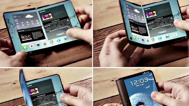 Hình ảnh được cho là thiết kế của chiếc smartphone dùng màn hình uốn dẻo gập lại được của Samsung