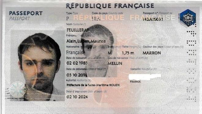 Hộ chiếu của Alain Feuillerat. (Nguồn: lavenir.net)