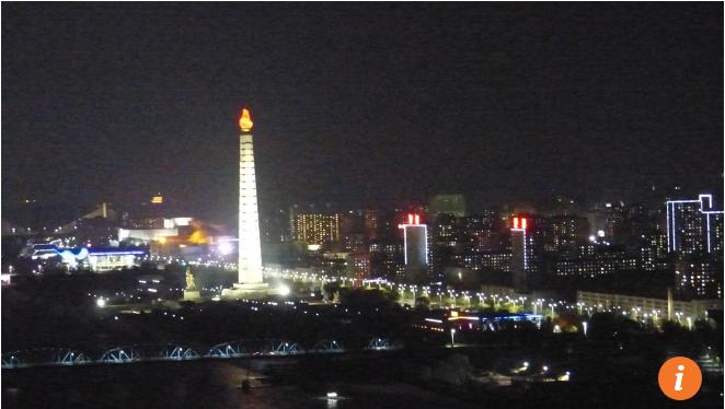 Cảnh ban đêm ở Bình Nhưỡng (tháng 4/2017)
