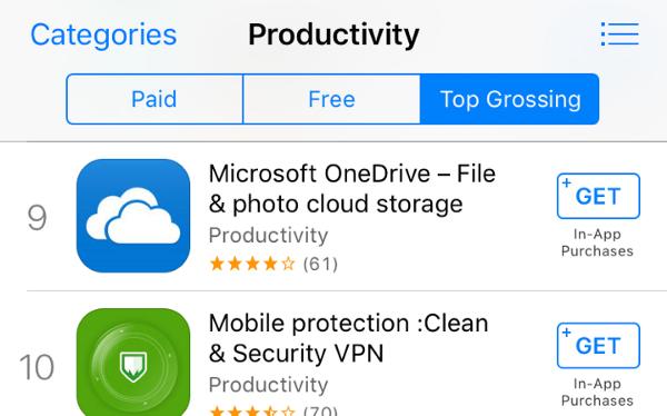 "Ứng dụng ""Mobile protection :Clean & Security VPN"" trên App Store - Ảnh: Johnny Lin"
