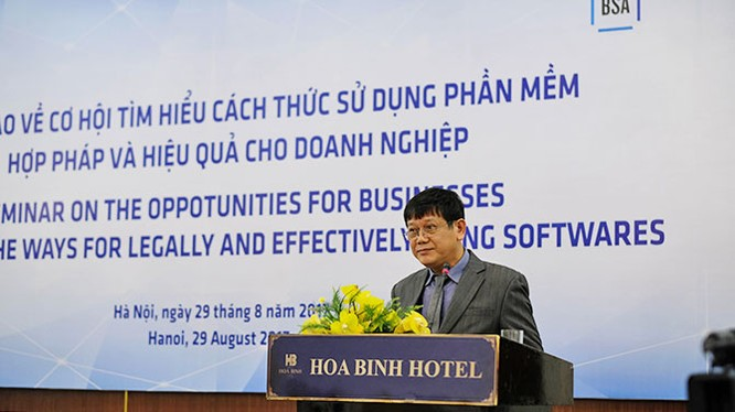 Ông Trần Văn Minh, Phó Chánh Thanh tra Bộ Văn hóa Thể thao & Du lịch phát biểu tại hội thảo về bản quyền phần mềm diễn ra ngày 29/8 tại Hà Nội.