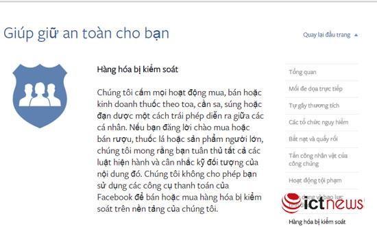 Tiêu chuẩn của Facebook cấm bán thuốc.