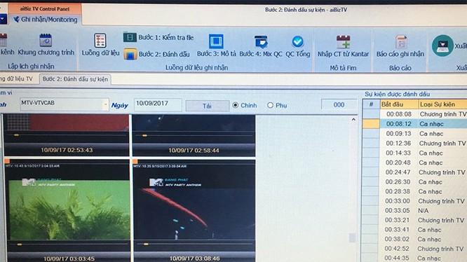 Ảnh chụp màn hình phần mềm công nghệ giám sát bản quyền âm nhạc trên tivi và radio của AiBiz. Ảnh: Hiền Thảo