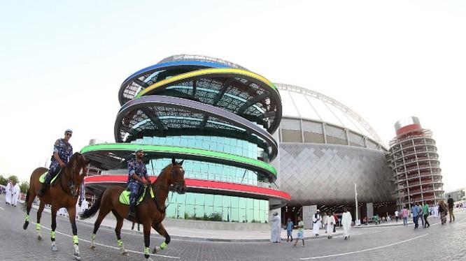 Hình ảnh Sân vận động Quốc tế Khalifa tại Doha (tháng 5/2017). Ảnh KARIM JAAFAR / AFP