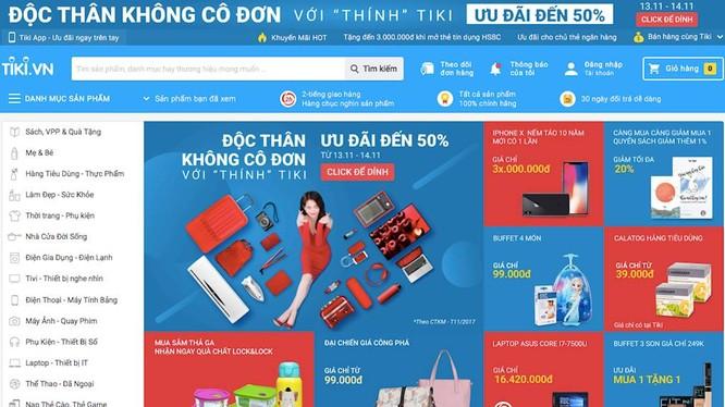 Một phần giao diện website Tiki.vn - Ảnh chụp màn hình