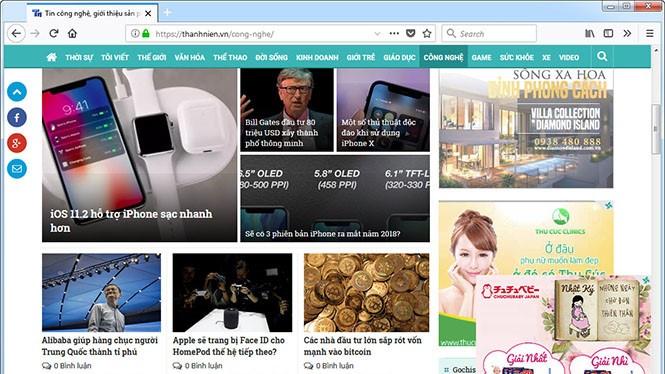 Giao diện Thanh Niên Online trên trình duyệt Firefox Quantum. ẢNH CHỤP MÀN HÌNH