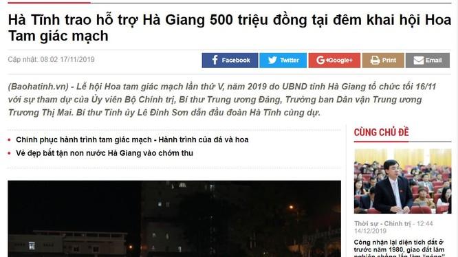 Báo Hà Tĩnh đăng tin hỗ trợ Hà Giang 500 triệu cho lễ hội hoa tam giác mạch