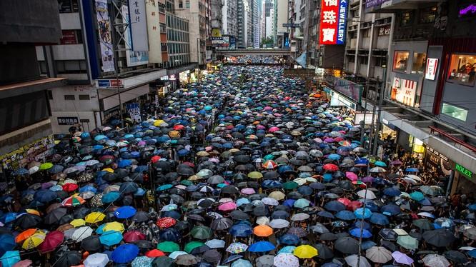 Người biểu tình che ô tại một con phố ở Hồng Kông. Ảnh: Vadity Fair