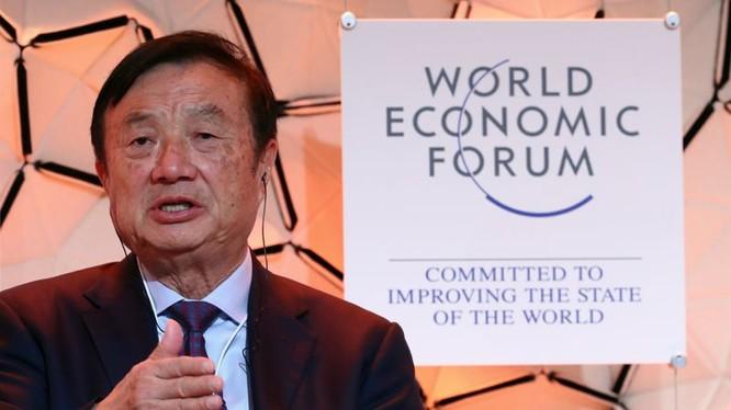 CEO, nhà sáng lập Huawei - ông Nhậm Chính Phi phát biểu tại cuộc họp thường niên lần thứ 50 của Diễn đàn Kinh tế Thế giới (WEF) ở Davos, Thụy Sĩ, ngày 21/1/2020.