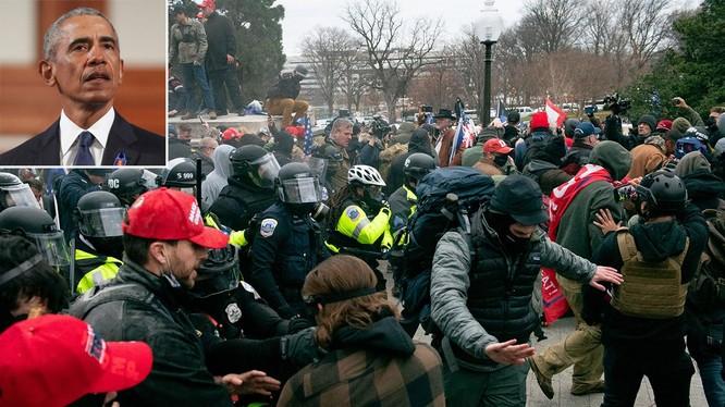 Cảnh sát cố gắng ngăn chặn người biểu tình tràn vào Điện Capitol hôm 6/1. Ảnh: People.