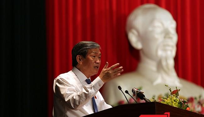 Ông Đinh Thế Huynh, Ủy viên Bộ Chính trị, Thường trực Ban Bí thư Trung ương Đảng, Đại biểu Quốc hội đơn vị TP Đà Nẵng trả lời ý kiến cử tri tại cuộc tiếp xúc