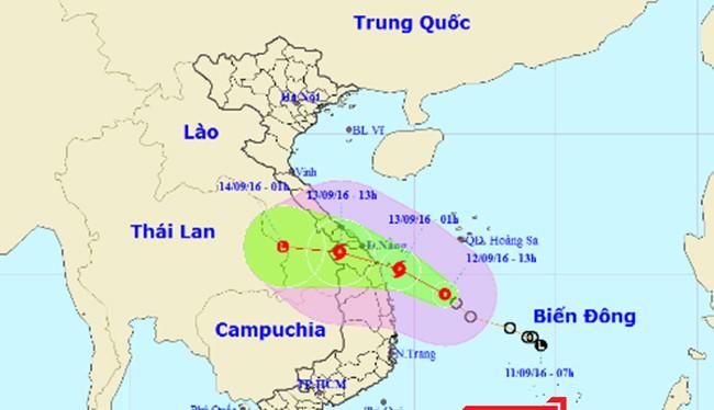 Bản đồ minh họa đường đi của áp thấp nhiệt đới