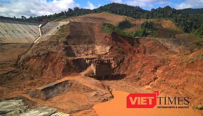 Đập thủy điện Sông Bung 2 sau sự cố vỡ hầm dẫn dòng