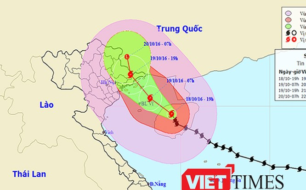 Hồi 19h ngày 18/10, bão số 7 đã đổ bộ vào đất liền đảo Hải Nam (Trung Quốc ) và sức gió giật giảm xuống còn cấp 14.