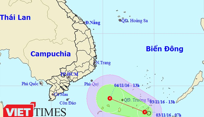 Áp thấp nhiệt đới xuất hiện trên Biển Đông