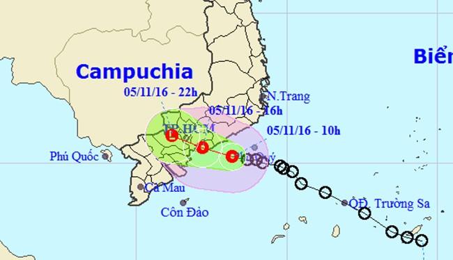 Áp thấp nhiệt đới đang đe dọa đổ bộ vào các tỉnh Bà Rịa Vũng Tàu, Đồng Nai, TP.HCM, Bình Thuận.