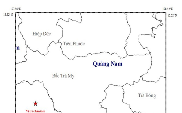 Vị trí tâm chấn trận động đất mạnh 3,9 độ richter vừa xảy ra trên địa bàn huyện Nam Trà My (Quảng Nam)