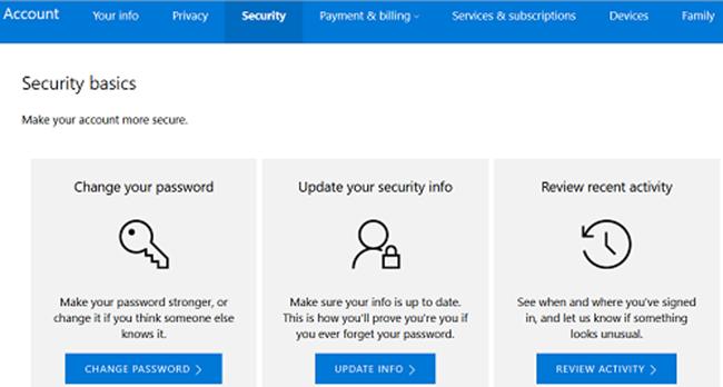 Giao diện thẻ Security trong trang Dashboard tài khoản Microsoft