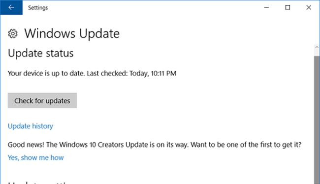 Chạy tiện ích Windows Update để tải và cài đặt các bản cập nhật cho hệ thống