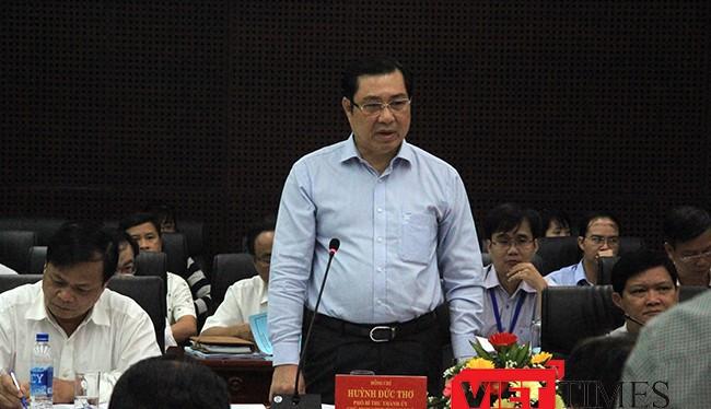 ông Huỳnh Đức Thơ, Phó Bí thư Thành ủy, Chủ tịch UBND TP Đà Nẵng Huỳnh Đức Thơ trả lời ý kiến của đoàn công tác Đại biểu Quốc hội tại buổi làm việc