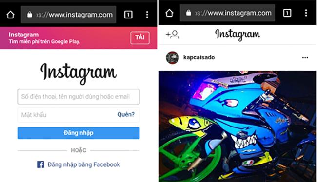Giao diện đăng nhập và giao diện chính trên phiên bản web của Instagram.