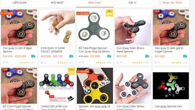 Spinner giá rẻ bán tràn lan trên mạng.