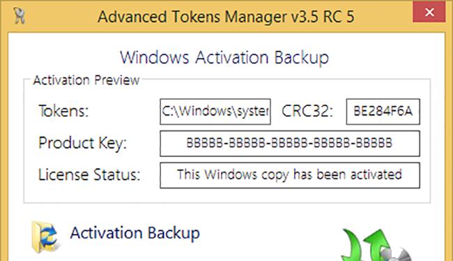 Advanced Tokens Manager cho phép người dùng sao lưu, phục hồi bản quyền Windows và Microsoft Office chỉ với vài thao tác đơn giản.