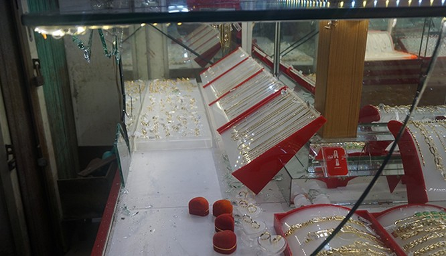 Hiện trường vụ cướp tiệm vàng