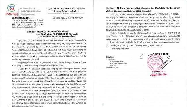 """Văn bản phản hồi của Công ty CP Trung Nam liên quan đến khoản nợ hơn 2.050 tỷ đồng mà chính quyền Đà Nẵng chưa trả cho doanh nghiệp này khi bị """"bêu"""" nợ tiền sử dụng đất."""