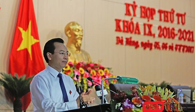 Ông Nguyễn Xuân Anh, Bí thư Thành ủy, Chủ tịch HĐND TP Đà Nẵng phát biểu tại Kỳ họp thứ 4, HĐND TP Đà Nẵng khóa IX, nhiệm kỳ 2016-2021 diễn ra từ ngày 5/7-7/7