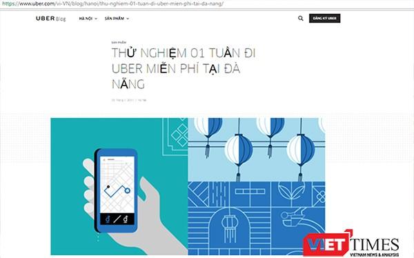 Thông tin trên các trang mạng về việc Uber triển khai ứng dụng kết nối hành khách tại Đà Nẵng