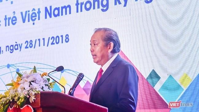 Phó Thủ tướng thường trực Trương Hòa Bình phát biểu tại phiên Khai mạc Diễn đàn Tri thức trẻ Việt Nam toàn cầu lần thứ I năm 2018 và Diễn đàn Thanh niên khởi nghiệp 2018 diễn ra sáng 28/11 tại Cung Hội nghị Quốc tế Furama Resort Đà Nẵng