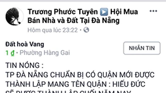 Nội dung tin đồi thất thiệt về việc Đà Nẵng tách huyện Hòa Vang thành 2 đơn vị hành chính đươc đăng trên mạng xã hội (ảnh Tấn Việt)