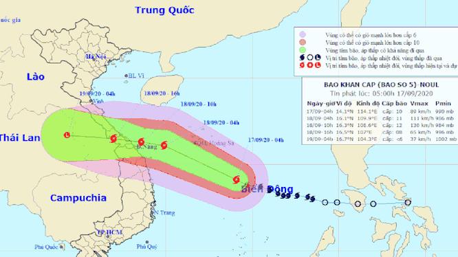 Dự báo của Trung tâm Khí tượng thủy văn quốc gia về đường đi của bão số 5