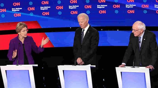 Thượng nghị sĩ Elizabeth Warren, cựu Phó Tổng thống Joe Biden và Thượng nghị sĩ Bernie Sanders, ba ứng viên hàng đầu để trở thành người so găng cùng Trump trong cuộc bầu cử Tổng thống tháng 11 tới.