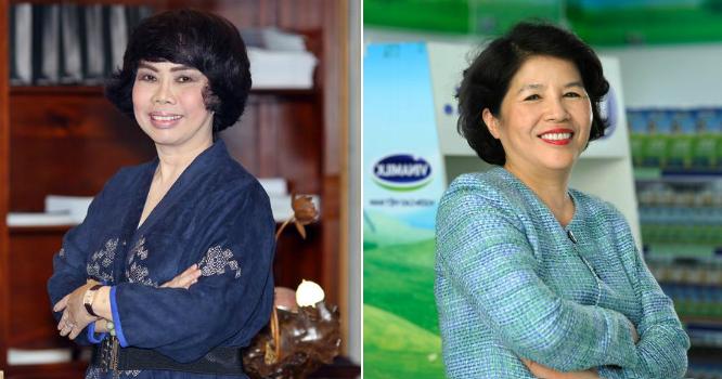 Việt Nam có hai trong danh sách của Forbes là bà Thái Hương (trái) và bà Mai Kiều Liên (phải).