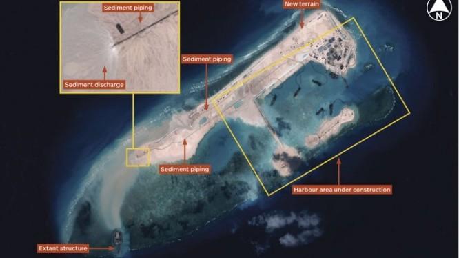 Đá Chữ Thập đã được Trung Quốc ồ ạt cải tạo thành đảo nhân tạo có diện tích lớn nhất Trường Sa có cả sân bay